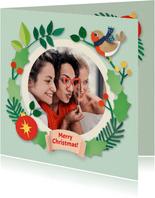 Fotokaart met kerstrand en roodborstje