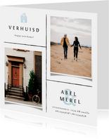 Fotokaart met lijnen, foto's en lichtblauwe accenten