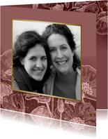 Fotokaart met roze bloemen, waterverf & gouden spetters