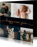 Fotokaart nieuwjaar sterren met sierlijke letters