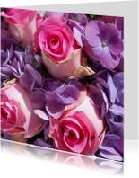 Fotokaart roze rozen