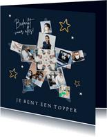 Fotokaart topper ster fijne feestdagen zorg bedankt