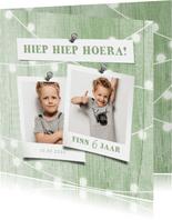 Fotokaart uitnodiging houtlook groen lampjes met foto