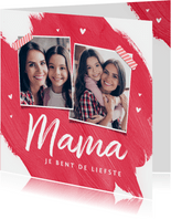 Fotokaart verfstrepen met hartjes en eigen foto's