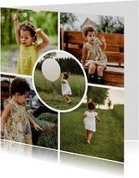 Fotokaart vierkant 5 foto's met cirkel
