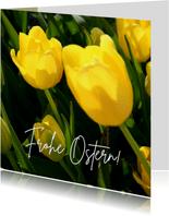 Fotokarte Frohe Ostern mit gelben Tulpen
