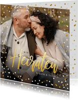 Fotokarte Hochzeitseinladung Goldtext