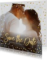Fotokarte zur Hochzeit Save-the-Date Goldtext