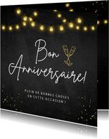 Franstalige verjaardagskaart voor een man met lampjes