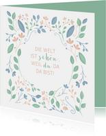 Freundschaftskarte botanisch Pastellfarben