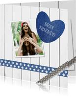 Freundschaftskarte Holzlook mit Foto und Herz