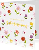 Fröhliche Karte Gute Besserung mit Blumen