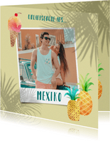 Fröhliche Urlaubskarte mit Foto und Palmen-Schatten