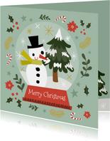 Fröhliche Weihnachtskarte Schneemann und Tannenbaum