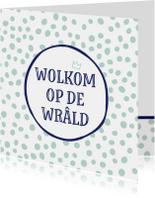 Fryske felicitatie kaart Wolkom op de wrâld