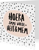 Fryske kaartsjes - Fryske felicitatiekaart zwangerschap hartjes