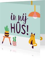 Fryske kaartsjes nij hûs poes kat cactus vetplant