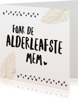 Fryske moederdagkaart roze  met veertjes