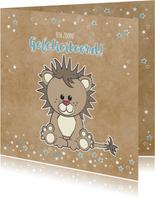 Geboorte felicitatie grappige kaart met stoere leeuw