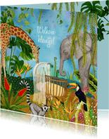Geboorte felicitatie kaart jungle dieren rond wiegje