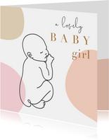Geboorte felicitatie kaart met lijntekening van baby