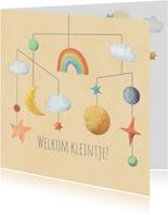 Geboorte felicitatie kaart mobiel met zon maan en sterren