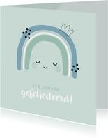 Geboorte felicitatie kaartje met tekening van een regenboog