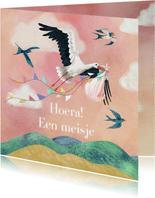 Geboorte felicitatiekaart dochter met vliegende ooievaar