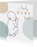 Geboorte felicitatiekaart jongen met lijntekening van baby
