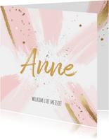 Geboorte felicitatiekaart meisje roze penseel strepen