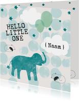 Geboorte Felicitatiekaartje olifant met ballonnen blauw