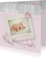 Geboorte fotokaart romantisch vogel takje