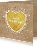 Geboorte goud hart en vele hartjes sterretjes en bloemen