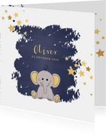 Geboorte hip blauw kaartje met een lief olifantje