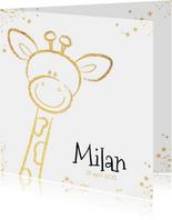 Geboorte hip kaartje met goudkleurig lief girafje