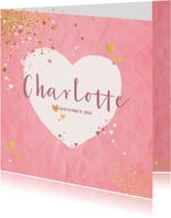 Geboorte hip roze kaartje met een hart en sterretjes