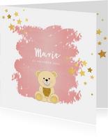 Geboorte hip roze kaartje met een schattig beertje