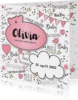 Geboortekaartjes - Geboorte hippe kaart in handlettering-stijl met hartjes
