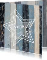 geboorte jongen blauw hout ster