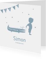 Geboortekaartjes - Geboorte  jongen blauw silhouet Simon - MW