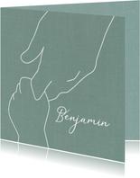 Geboorte jongen getekende handen groen
