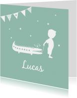 Geboortekaartjes - Geboorte  jongen groen silhouet Lucas - MW