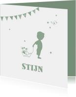 Geboorte jongen legergroen silhouet Stijn - MW