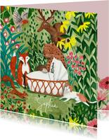 Geboorte jungle bos dieren bij wiegje met bloemen