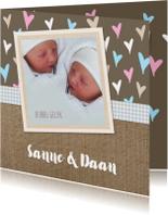Geboorte Jute hartjes twins
