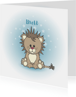 Geboorte kaart jongen lief leeuw sterren