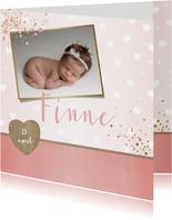 Geboorte lief en hip, roze kaartje met foto en hartjes