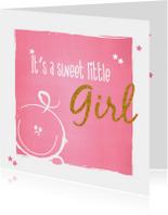 Geboorte Lief roze baby kaartje
