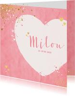 Geboorte lief roze kaartje met sterretjes en hartjes