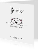 Geboorte lief zwart wit kaartje met een ijsbeertje